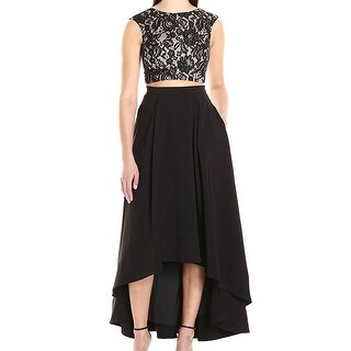Aidan Mattox NEW Black Womens Size 12 Two-Piece High-Low Lace Gown