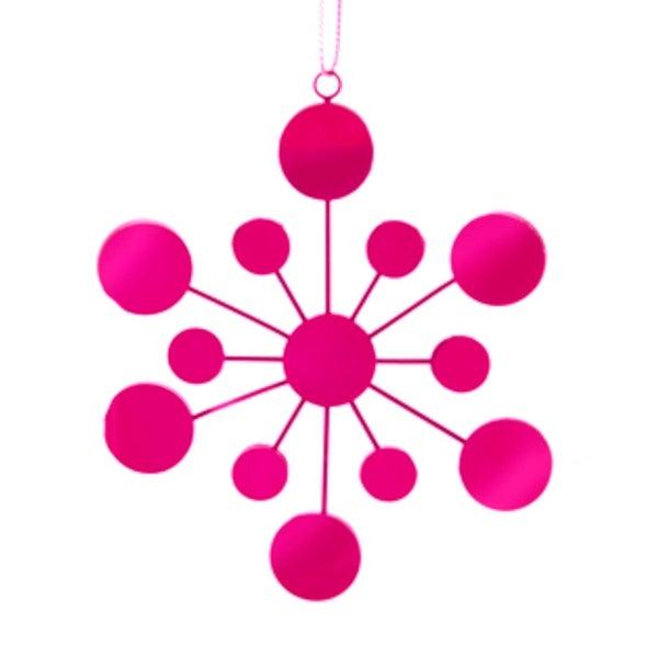 "4.25"" Fuchsia Pink Glass Mirrored Snowflake Christmas Ornament"