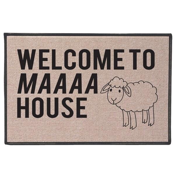 What On Earth Welcome to Maaaa House Sheep Doormat - Funny Indoor/Outdoor  Olefin Welcome Mat - 27 in  x 18 in  x 1 in