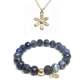 "Blue Sodalite 7"" Bracelet & CZ Flower Gold Charm Necklace Set"