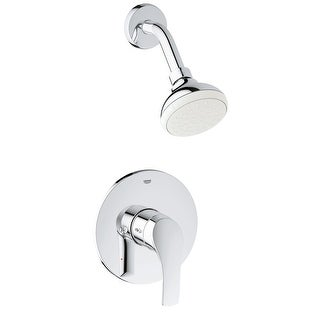 Grohe 35 014 A  Eurosmart Shower Trim Package with Single Function Shower Head with Shower Arm and Flange - Starlight Chrome
