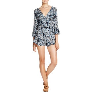 Free People Womens Romper Printed Faux Wrap