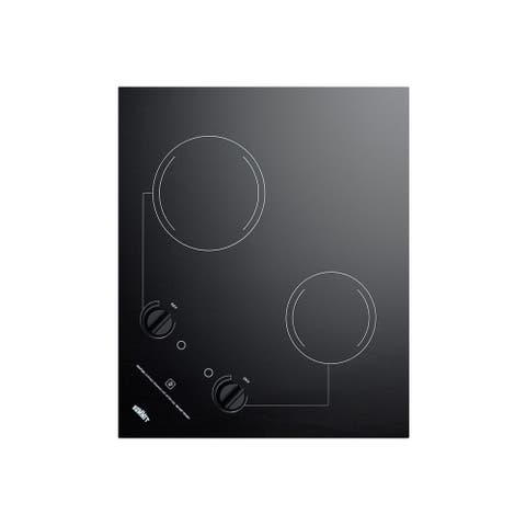 """Summit CR2B121 22"""" Wide Built-In Electric Cooktop with Residual Heat Indicator - - Black"""