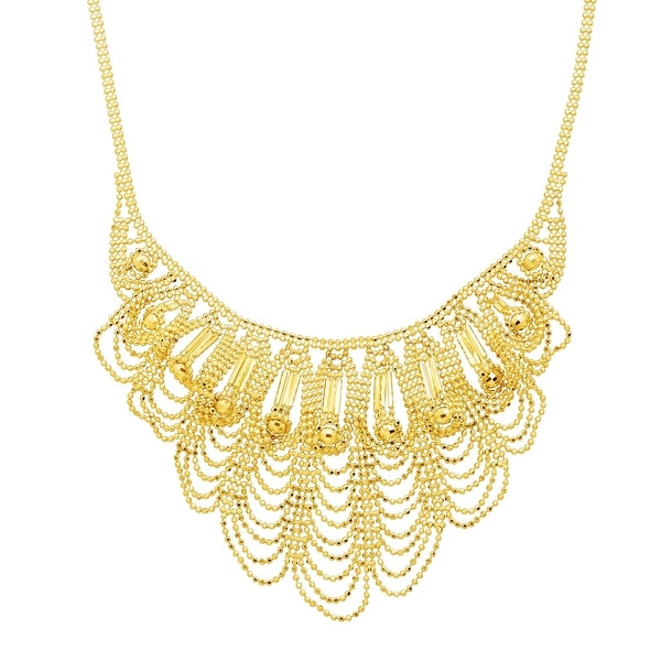 Eternity Gold Scalloped Bead Bib Necklace in 14K Gold