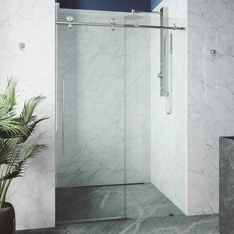 VIGO Elan E-class 60 in. x 76 in. Frameless Sliding Shower Door in Stainless Steel with Clear Glass