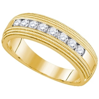 14kt Yellow Gold Mens Round Natural Diamond Band Wedding Anniversary Ring 1/2 Cttw - White