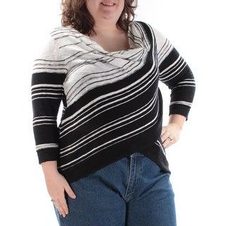 INC $69 Womens New 1284 Black Striped Jewel Neck 3/4 Sleeve Sweater 2X B+B
