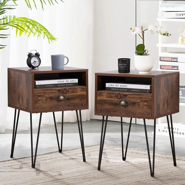 Taomika 1 Drawer Mid-Century Modern Nightstand(Set of 2). Opens flyout.