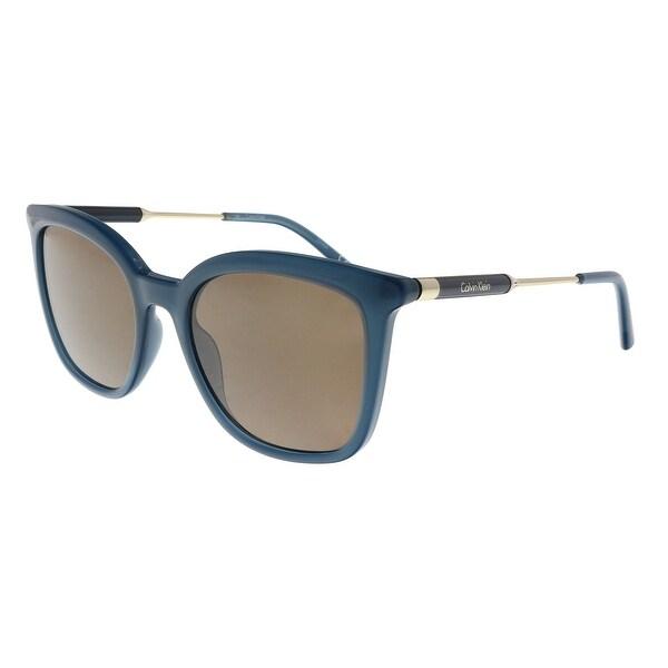 54dfa0bee65d Shop Calvin Klein CK3204S 431 Petrol Square Sunglasses - 53-19-140 ...