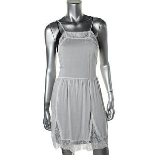 Free People Womens Textured Lace Trim Slip Dress