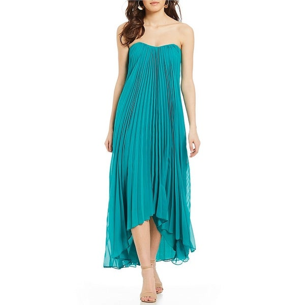 Shop Laundry By Shelli Segal Strapless Pleated Hi-low Chiffon Gown ... 848919a39275