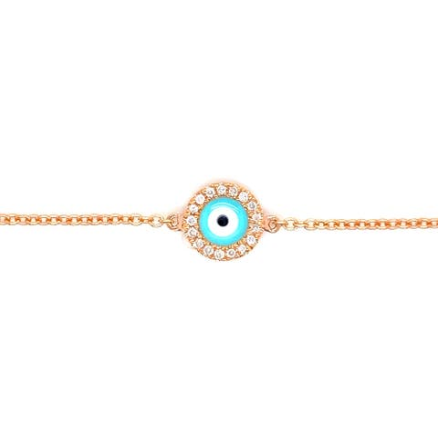 Kabella 14 Karat Gold Diamond Round Turquoise Enamel Evil Eye Bracelet