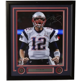 Tom Brady Signed Framed 16x20 NE Patriots Super Bowl LI Scream Photo Tristar