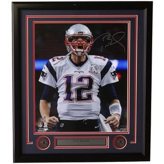 Tom Brady Signed Framed 16x20 NE Patriots Super Bowl LI Scream Photo Tristar
