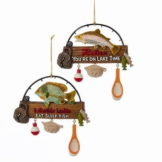 """Pack of 12 """"Relax"""" and """"Lakeside Lodge"""" Fishing Rod Christmas Ornaments with Dangling Accents"""