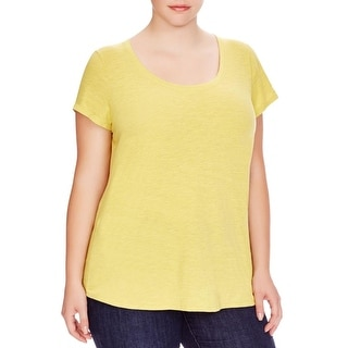Eileen Fisher Womens Plus T-Shirt Scoop Neck Stretch