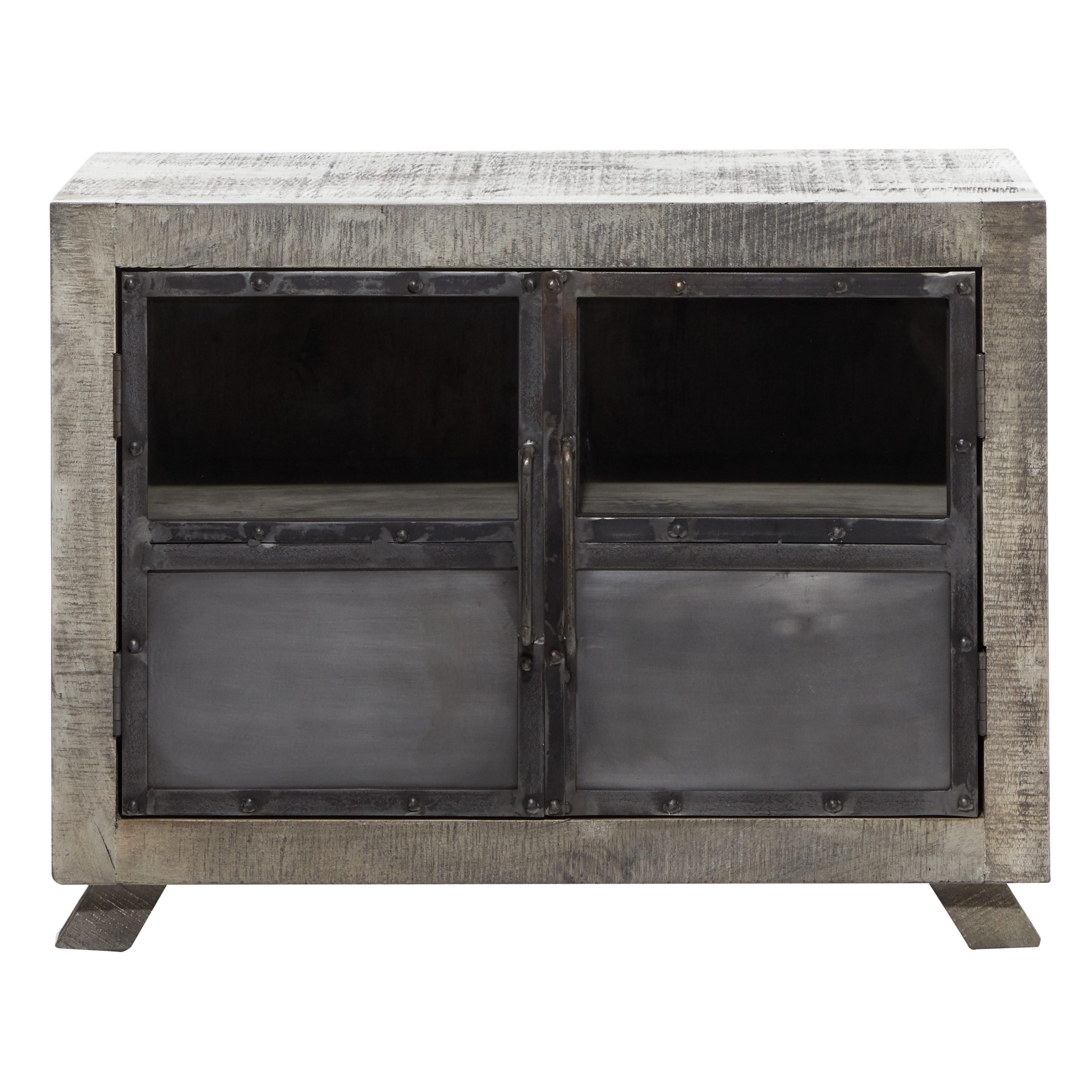 Shop Black Friday Deals On Large Wood Kitchen Cabinet W Vintage Style Doors And Distressed Grey Finish 37 X28 37 X 20 X 28 On Sale Overstock 32133972