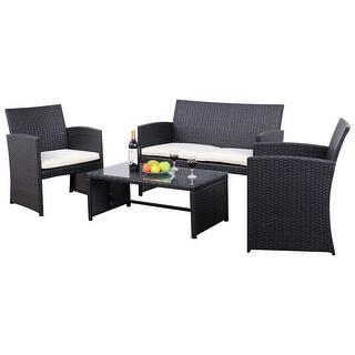 Costway Outdoor 4PCS Rattan Wicker Furniture Set Sofa Seat Cushioned Patio  Garden Black. Black  Rattan Patio Furniture   Outdoor Seating   Dining For Less