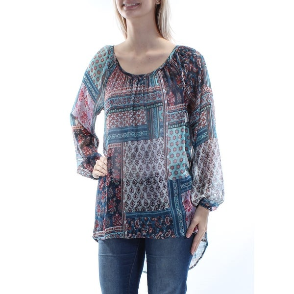 d4535560d93b91 Shop KAREN KANE Womens Blue Sheer W o Cami Printed Long Sleeve Jewel Neck Hi -Lo Top Size  XS - Free Shipping On Orders Over  45 - Overstock.com -  21392393
