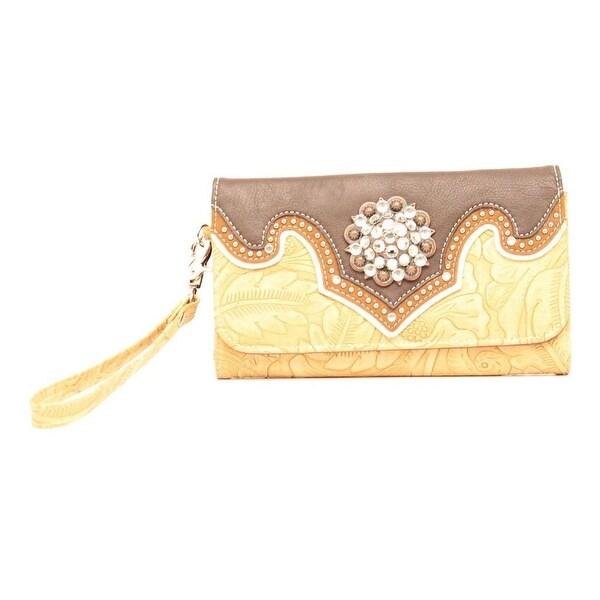 Blazin Roxx Western Wallet Womens Clutch Studded Tan - 7 1/2 x 4 1/2
