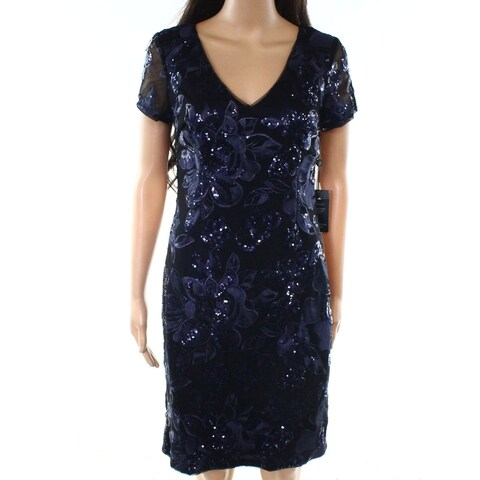 Adrianna Papell Blue Womens Size 6 V-Neck Sequined Sheath Dress
