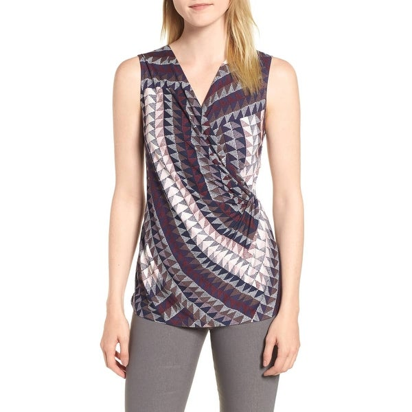 NIC + ZOE Purple Womens Size Small S Printed Surplice Knit Blouse