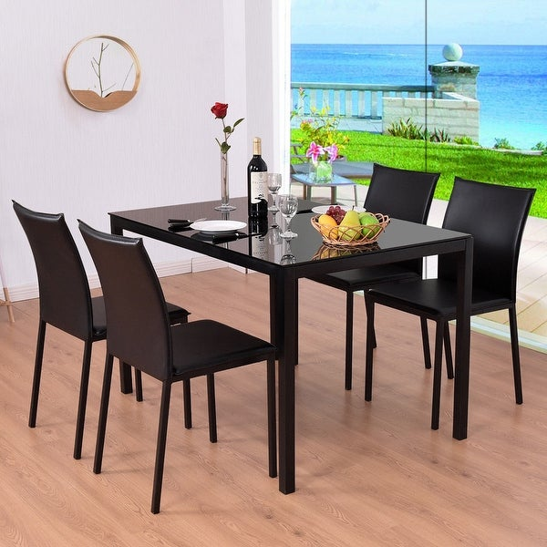 Shop Costway 5 Piece Dining Set Glass Top Table And 4 PU