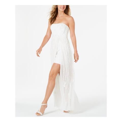 ADRIANNA PAPELL Womens Ivory Sleeveless Maxi Formal Dress Size 2