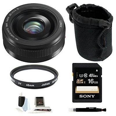 Panasonic Lumix G H-H020AK 20mm F/1.7 II ASPH Lens (Black) with 16GB Bundle - black