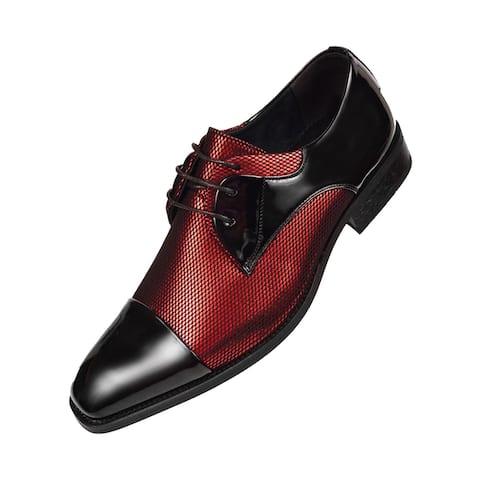 Amali Mens Two Tone Metallic and Black Patent Cap Toe Oxford - Red