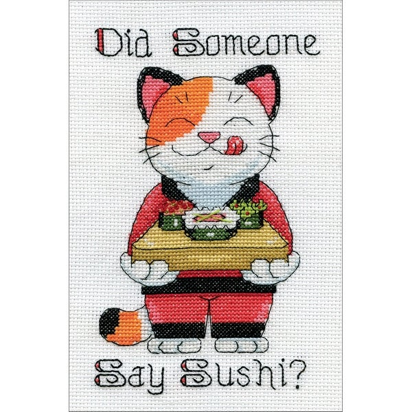 "Say Sushi Mini Counted Cross Stitch Kit-5""X7"" 14 Count"