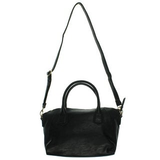 Kensie Womens Faux Leather Embossed Trim Satchel Handbag - Black - Large