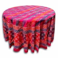 Handmade 100% Cotton Hand Block Print Dabu 90 inches Round Tablecloth Geometric Red Orange - 90 Inches