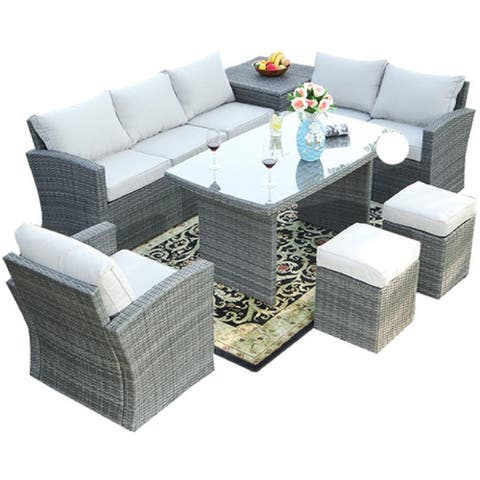 7-Piece Wicker Patio Furniture Outdoor Seating Conversation Set with Table Ottomans and Luxury Cushions