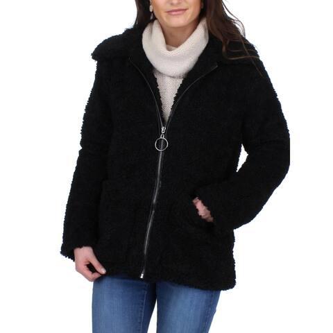 Steve Madden Women's Sherpa Oversized Collared Fuzzy Teddy Jacket Coat