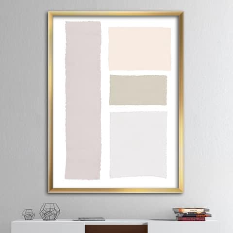 Designart 'Painted Simple Form Neutral on White' Modern Geometric Framed Art Print