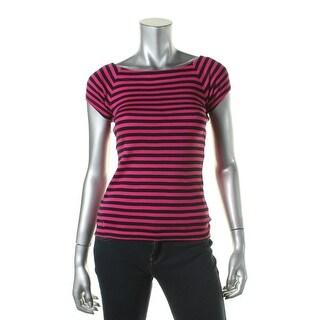 Lauren Ralph Lauren Womens Petites Striped Raglan Sleeves Pullover Top - pxs