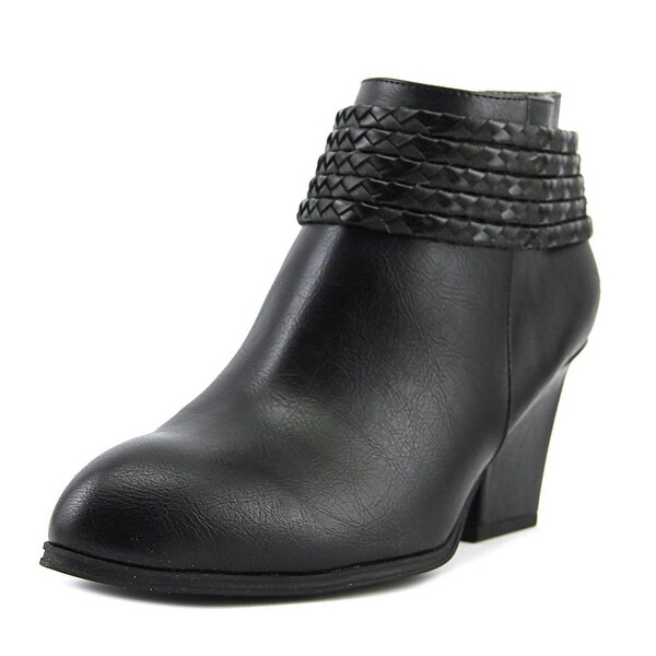 Life Stride Western Women W Round Toe Leather Black Ankle Boot