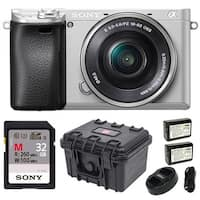 "Sony Alpha a6300 Mirrorless Camera (Silver) with 3"" LCD and 32GB Bundle"