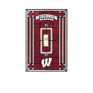 Wisconsin Badgers Art Glass Light Switch Cover