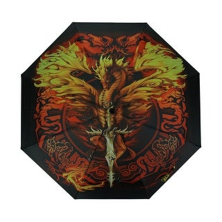 Ruth Thompson Flameblade Dragon Print 38 Inch Collapsible Mini Travel Umbrella