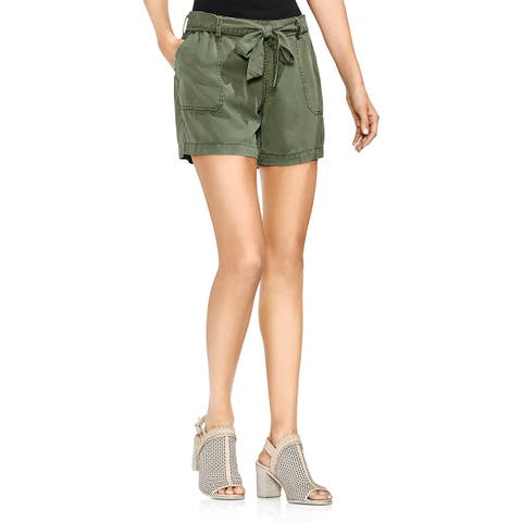 Vince Camuto Womens Casual Shorts Belted High Rise Green L