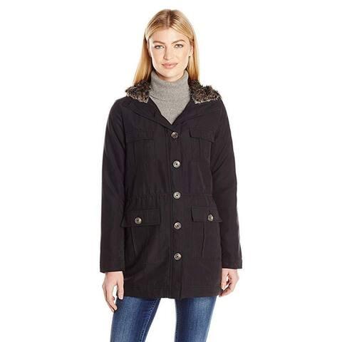 Jack by BB Dakota Women's Gregor Coat with Fur Lined Hood, Black, SZ: Small