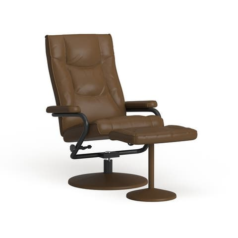 Contemporary Multi-Position Recliner and Ottoman with Wrapped Base