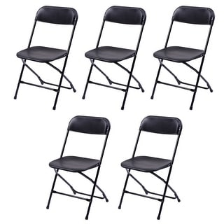 Costway Set of 5 Plastic Folding Chairs Stackable Wedding Party Event Commercial Black
