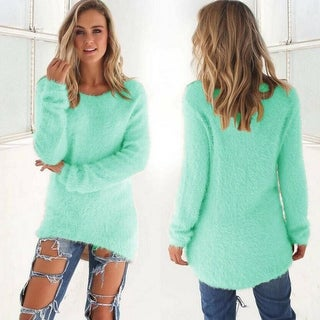 Link to Solid Color Long-Sleeved Sweater Similar Items in Women's Sweaters