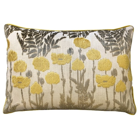 Rodeo Home Camelia Floral Cut Velvet Lumbar Pillow