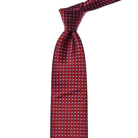 Ermenegildo Zegna Red & Blue Tile Silk Tie - NoSize