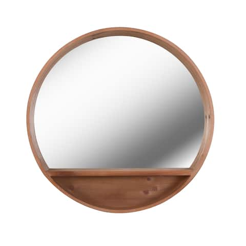 "Chanzy Round Wood Wall Mirror - 30"" x 30"""