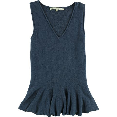 Rachel Roy Womens Solid Knit Sweater, blue, Large